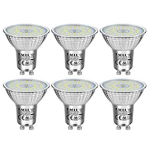 EACLL GU10 LED 6W 6000K Dimmbar Leuchtmittel Kaltweiss 635 Lumen PAR16 Reflektor Lampen, 3 Helligkeit. 3-Stufig-Dimmen nur mit normalem Schalter. 3-in-1 Lichtanpassung Flimmerfrei Birnen, 6 Pack