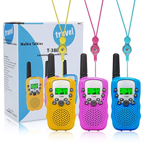 SUPTEMPO Kids-Walkie-Talkies for Kids 3 Pack Kid-Gift Toy 22 Channels 2 Way Radio 3 KMs Long Range with Backlit LCD Flashlight 3-12 Year Boys-Girls-Birthday for Outdoor Adventure Game