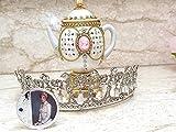 EDICIÓN LIMITADA Faberge Egg Tetera Lady Diana Jewelry VINTAGE 1991 HandDCARVE Natural Ruso Faberge Huevo Trinket Music Box & Moneda & Lady Diana Crown Silver Swarovski Diamond Oro 24k regalo