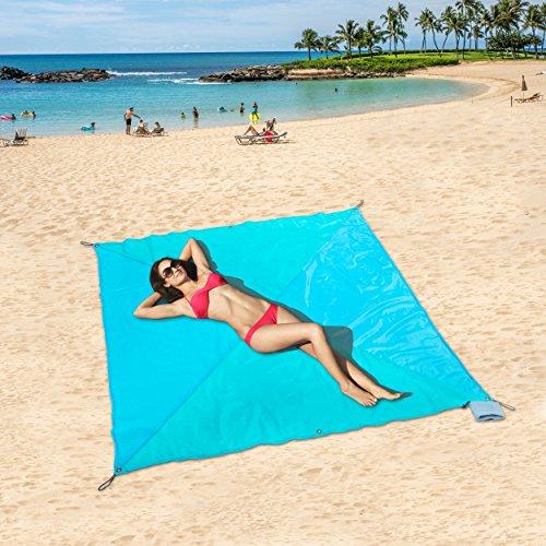 ZOMAKE Tasche Decken, kompaktes Picknick/Strand Decke – XL Extra Groß (190 x 190cm) für 4–6 Personen (Blaues Kreuzdreieck)