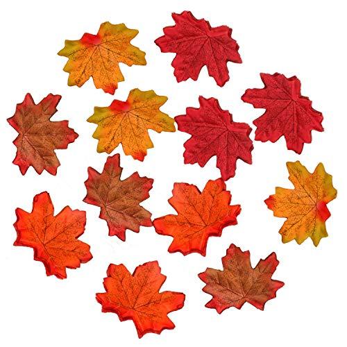 MUSCCCM Hojas de Arce Artificiales de Colores Surtidos para Bodas, Halloween, Eventos y decoración de Hojas de Arce al Aire Libre