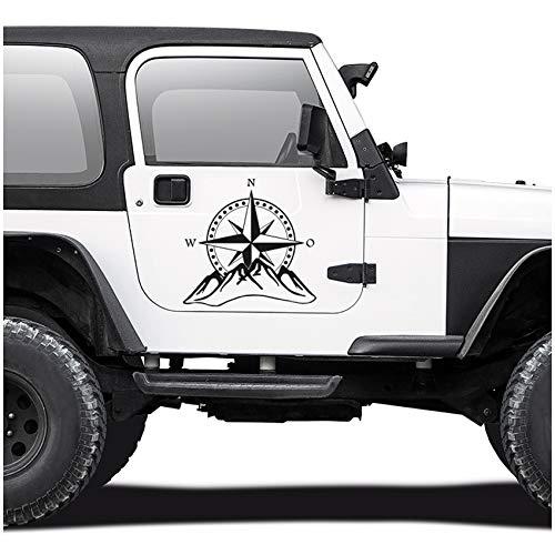 Autoaufkleber Kompass Offroad Windrose Sticker Folie für Auto Motorrad Wohnwagen Wohnmobil Anhänger Aufkleber Selbstklebend Kfz Zubehör KX059 (Schwarz Matt, Design 2 groß)