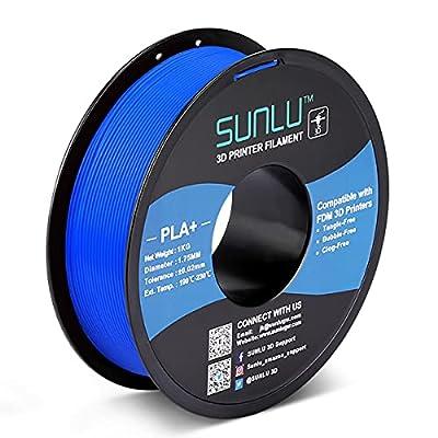 SUNLU PLA+ Filament 1.75mm for 3D Printer & 3D Pens, 1KG (2.2LBS) PLA+ 3D Printer Filament Tolerance Accuracy +/- 0.02 mm, Blue