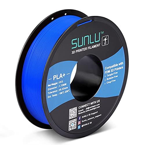 PLA+ 3D Printer Filament 1.75mm, SUNLU PLA Filament PRO, Dimensional Accuracy +/- 0.02 mm, 1 kg Spool, 1.75 PLA Plus, Blue