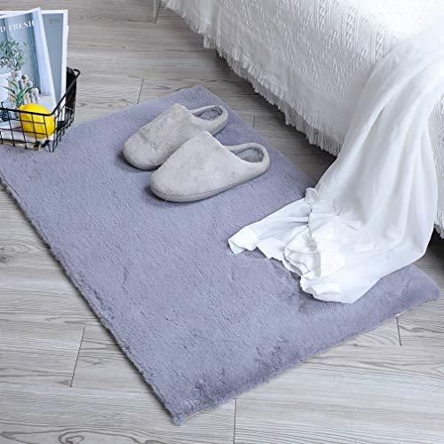 HEQUN Weicher Kunstkaninchenfell-Teppich|Kurzfell-Teppich Kunstfell Hasenfell Imitat | Lammfell-Teppich | Kunstfell Schaffell Imitat | Wohnzimmer Schlafzimmer Kinderzimmer (Grau, 60 x 90 cm)