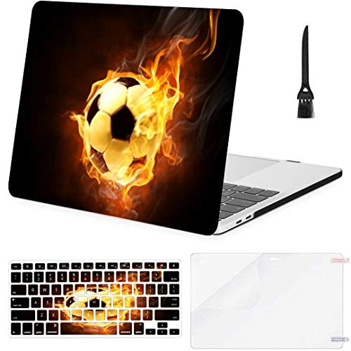 MacBook Pro Case Bright Flamy Symbol On Black Background MacBook Retina 12' A1534 Plastic Case Keyboard Cover & Screen Protector & Keyboard Cleaning Brush