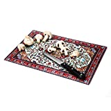 PELEG DESIGN Rugboard Tempered Glass Cutting Board for Kitchen, Multi Purpose Decorative Glass Chopping Board, Heat Resistant Shatter Resistant Serving Tray (9.6 x 14.4 inches)