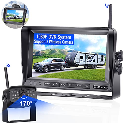 LeeKooLuu LK5 RV Wireless Backup Camera HD 1080P with 7 Inch Monitor DVR System IP 69 Waterproof 170° Wide View High-Speed Rear View Camera Observation System for RVs,Trailers,Trucks,5th Wheels