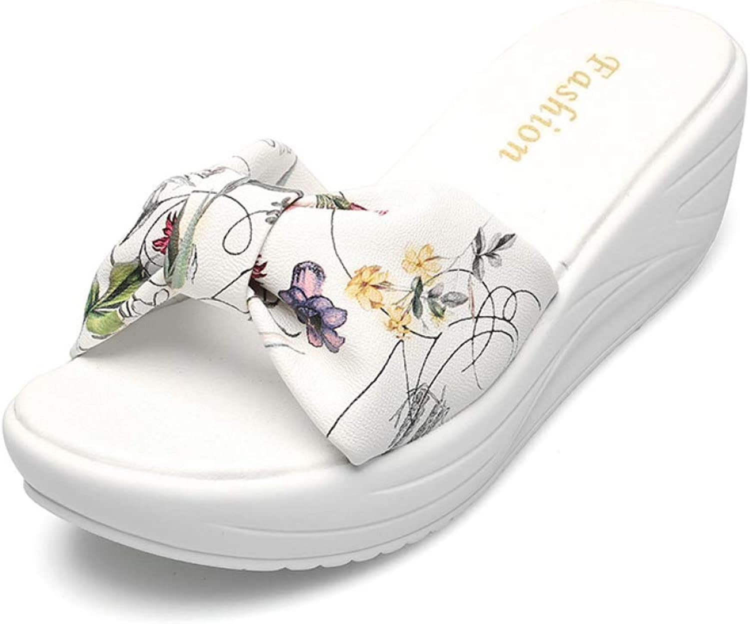 T-JULY Women's Platform Sandals Wedges Beach shoes Ladies Floral Casual Leisure Slip on Mules Summer Slippers