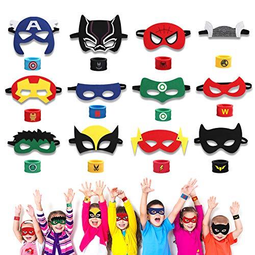 HXDZFX 24PCS Superhero Party Masks & Superhero Slap Bracelet for Kids Baby - The Avengers Super Heroes Birthday Party Supplies Favors Children/Kids/Adults (24PCS)