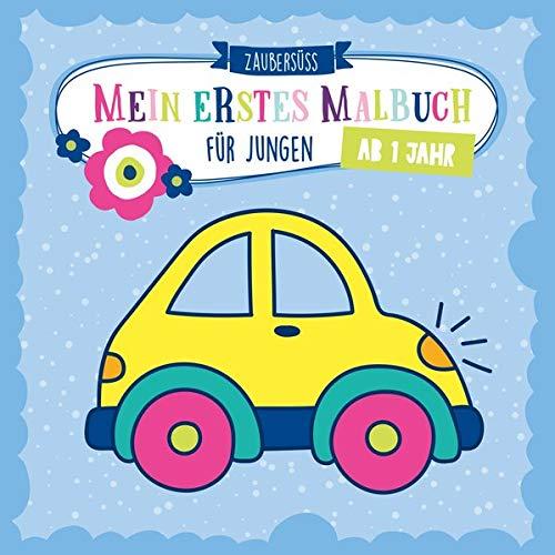 Mein erstes Malbuch ab 1 Jahr für Jungen: Ausmalen und kritzeln der ersten Wörter für Jungs mit Traktor, Bagger, Auto, Feuerwehr, Fußball, Dinosauriern und vielem mehr
