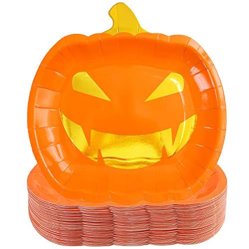 Aneco 50 x Halloween-Pappteller, Kürbis-Party-Teller, Halloween-Partyzubehör, Partyzubehör für Halloween-Partys Farbe B