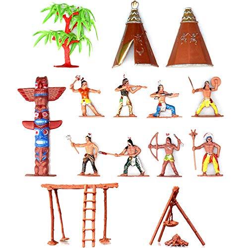 Musykrafties Indianen Figuren Kunststof Speelgoed Figurines Sandbox Miniatuur Aquarium Terrariums Fee Tuinen Poppenhuis Taart Topper 13-delige Set