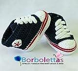 Patucos para Bebé Recién Nacido tipo Converse, 0-3 meses Azul Marino....