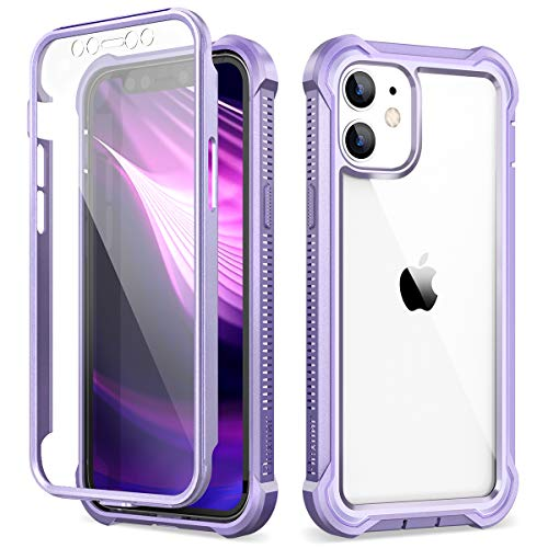 Dexnor Clear Case Compatible with iPhone 12 Mini Case with Screen Protector Rugged Full Body Protective Shockproof Hard Defender Heavy Duty Cover TPU Bumper Case for iPhone 12 Mini 5.4 inch, Purple