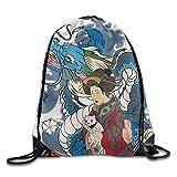 JHUIK Drawstring Bag Backpack,Mochila Deportiva portátil con Sacos de Gimnasia y Mochila de Viaje Japón Fish Wave Travel Camping Mochila