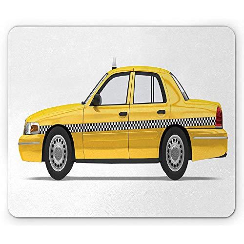 New York Taxi muismat, zijaanzicht illustratie van de Amerikaanse NY City Checker Cab kunstdruk, wit en mosterd