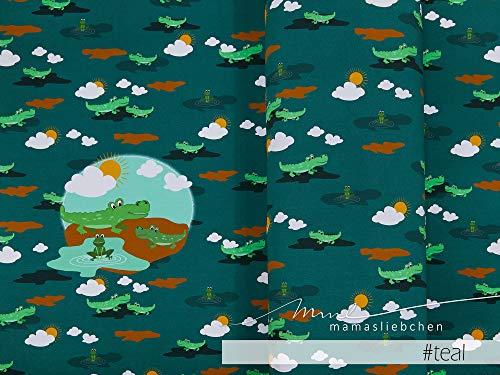 Mamasliebchen Jersey-Stoff Croco #Teal (1Panel/ ca.0,60m) Krokodil Panel