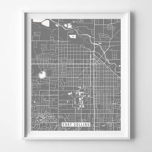 Amazon Com Fort Collins Colorado City Street Map Wall Art Home Decor Poster Urban City Hometown Road Print 70 Color Choices Unframed Handmade
