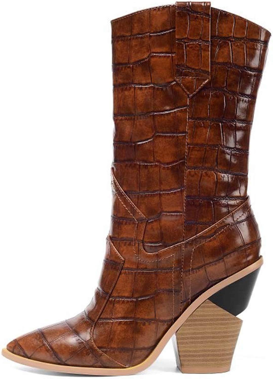 Damen Lederstiefel Stiefel in überGröße Damen Stiefel Stiefel Mit Steinmuster,Braun,41
