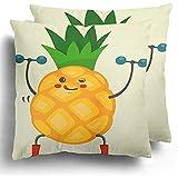 Dekokissenbezug Cute Pineapple Cartoon Character Übungen Hanteln Essen Gesund Und Fitness Flach...