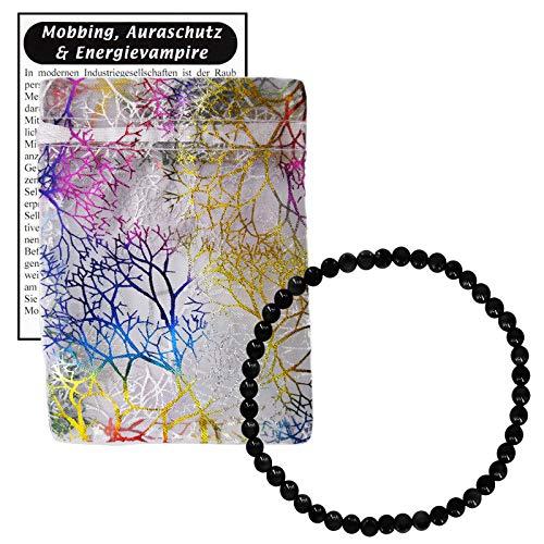 TURMALIN schwarz Schmuck Edelstein Armband 4mm Kugeln. Schutzstein + Selbstschutz + Aura-Schutz + MOBBING & NEGATIVES abwehren. 81883-1