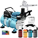Pro Master Airbrush Cake Decorating Airbrushing System Kit with a 4 Color Chefmaster Food Coloring Set - G22 Gravity Feed Airbrush, Air Compressor, Guide Booklet - Decorate Cakes, Cupcakes, Cookies