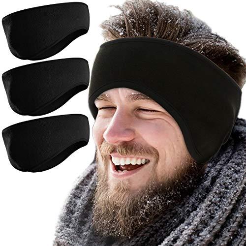 Fleece Ear Warmers for Women Men 3 Pcs Ear Muffs Covers for Winter Running Yoga Skiing Riding (Black)