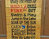 by Unbranded Palet de madera para colgar en la pared, madera reciclada, decoración rústica rústica, reutilizada, decoración de cabina, casa del lago