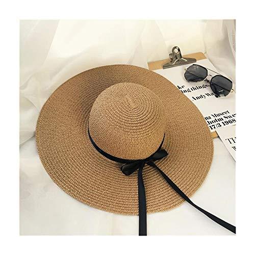 Gorro de invierno para mujer, sombrero de playa, sombrero de playa, sombrero de verano, lazo negro, paja (color caqui, tamaño: 58-60 cm)