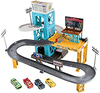 Disney Pixar Cars 3 Piston Cup Motorized Garage Playset with Exclusive Cars