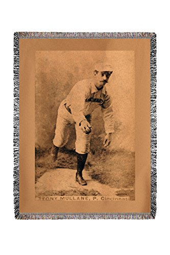Lantern Press Cincinnati Red Stockings - Tony Mullane - Baseball Card 22185 (60x80 Woven Chenille Yarn Blanket)