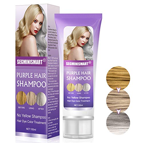 No Yellow Champu, Champú Purpura, Brassy, humectante capilar con tratamiento de color plateado, cabello decolorado y resaltado, revitaliza el cabello rubio teñido