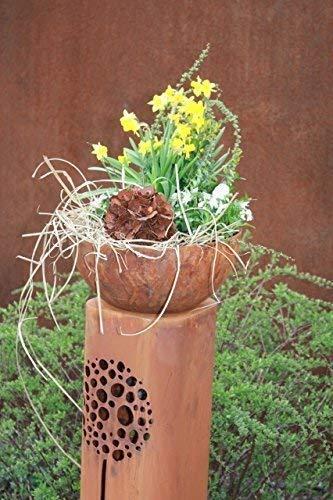 Rostikal | Rost Säule mit Pusteblumen, mit Pflanzschale Halbkugel 30 cm | 100 cm hoch