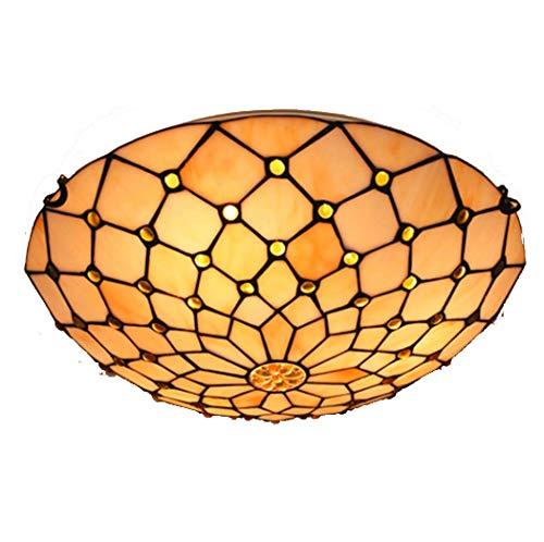 Lámpara de techo de estilo Tiffany, estilo vintage, con cuentas de cristal manchado, montaje empotrado, para salón, dormitorio, pasillo, entrada en el techo (color: B, tamaño: 50 cm)