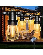 Lichtsnoer op zonne energie voor Buiten, Bomcosy S14 solar lichtsnoer buiten, 8M/12 LEDs, IP65 Waterdicht Lichtketting buiten, warmwitte lichtsnoer zonne-energie voor balkon, tuin, feest, veranda