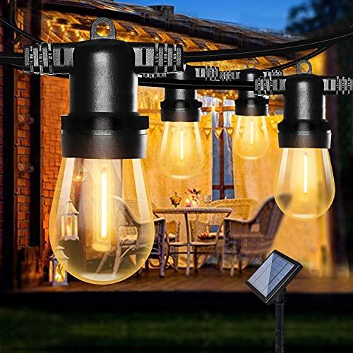 Guirlande Lumineuse Solaire, Bomcosy S14 Guirlande Guinguette Solaire avec 12 LED Plastiques Ampoules, Étanche IP65 Guirlande Solaire Extérieur pour Décoration Balcons, Parasol, Jardin, Terrasse