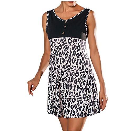 Willow S Women's Casual Sleeveless Leopard Pacthwork Button Summer Beach Mini Dresses White