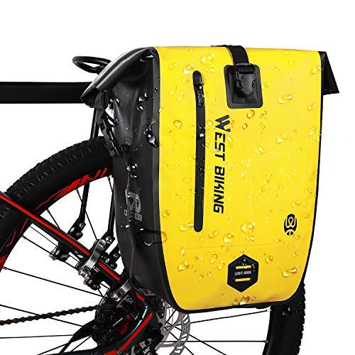 West Biking Wasserdichter 25L Gepäckträgertasche Fahrradtaschen, Multifunktionale Reise Tagesrucksack Handtasche, Rolltop Radtasche Herren Damen, Rückentasche Seitentasche für Bergsteigen Radfahren