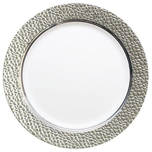 DECORLINE - efecto de martillo - blanco con plata - plástico Estable elegante vajilla desechable (Placa de 23 cm)