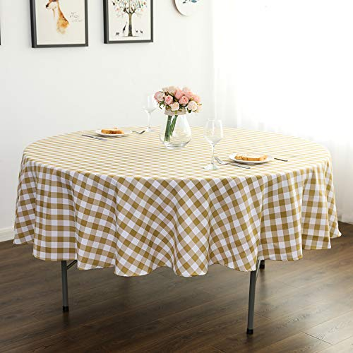 YRYIE 70 Inch Round Tablecloth Gingham Yellow Checked Tablecloth Fabric for Round Tables Indoor/Outdoor Camping Picnic Circle Table Cloth,Yellow & White Checker
