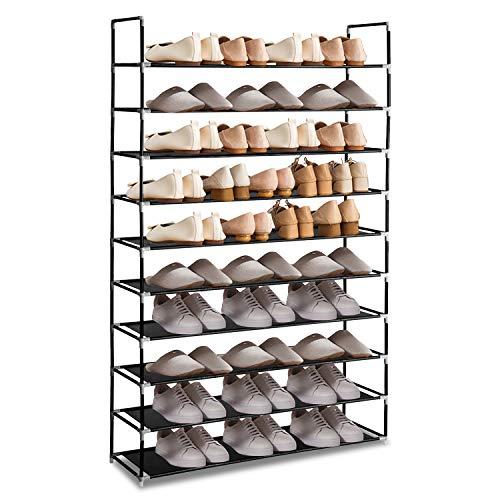 Hengda Schuhregal 10 Ebenen Schuhablage Schwarz 100x29x175cm Schuhständer Schuhaufbewahrung Schuhschrank für Wohnzimmer Ankleidezimmer und Flur