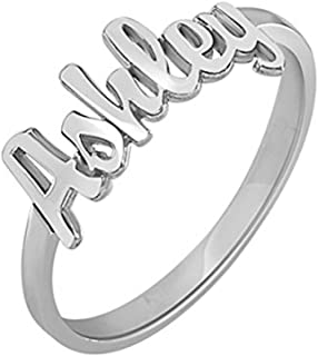 FUJIN 925 Sterling Silver Personalized Men Unisex Name Ring Custom Made with Any Names (Silver)