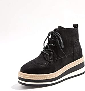 [HR株式会社] ブーツ レディース ウェッジ 約6cmヒール ショート丈 レースアップ おじ靴 厚底 裏ボア