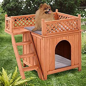PETSITE Wooden Pet Dog House, Dog Room Shelter with Stairs, Puppy House with Balcony for Indoor Outdoor