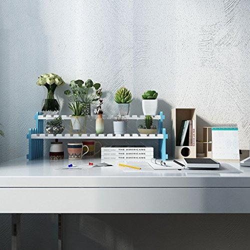 &Présentoir Étagère de fleur en bois massif, support de fleur multicouche Bureau de bureau Mini usine de support de stockage bleu et blanc ( taille : 40 cm )