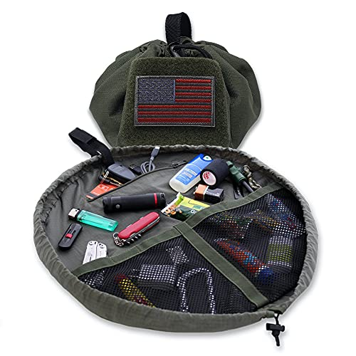 Lay-n-Go Defender Tactical Gear Accessory, Tool & Utility Storage Bag With Pockets for Travel, Military, First Responder, Survival and Outdoors, with a Durable Patented Design, 20 inch, Green