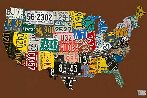 Oopsy Daisy de la matrícula USA Mapa Chocolate Lienzo de Arte por Aaron Foster, Azul, 30 by 20-Inch