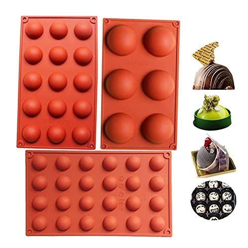 Bakeware Set Stampo in silicone per la decorazione della torta Jelly Pudding Candy Cioccolato 6 fori semicircolo 15 fori semicircolo 24 fori semicircolo Ogni Design 1pc, Brown Color, Set di 3