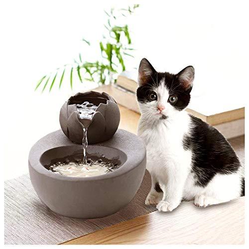 CWYSJ Wasserspender für Haustiere, besonders leiser Katzenbrunnen, Keramikdesign, um trockenes Verbrennen zu verhindern (Size : Lotus)